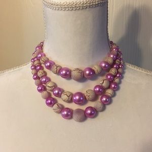 Vintage pink faux pearl necklace